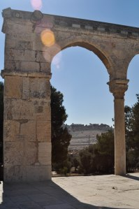 The Mount of Olives (now the largest Jewish cemetery in Jerusalem), view through a muslim-built arch on the Temple Mount which now holds the Dome of the Rock, the 2nd most holy site for Muslims after Mecca.